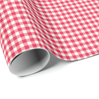 Red Country Gingham Check Pattern Wrapping Paper