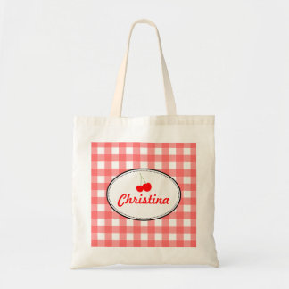 Red country gingham pattern sweet cherry personal tote bag