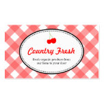 Red country gingham pattern sweet cherry produce business card templates