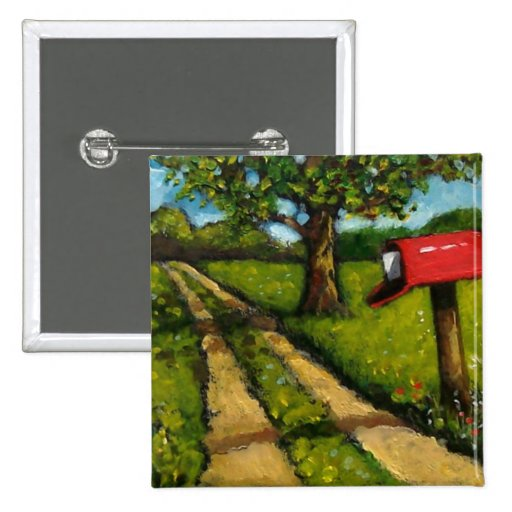 Red Country Mailbox: Oil Painting 15 Cm Square Badge