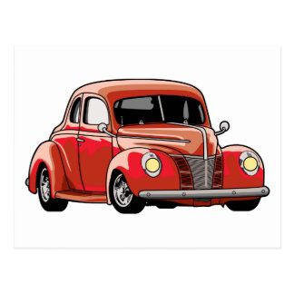 Red Coupe Hot Rod Postcard