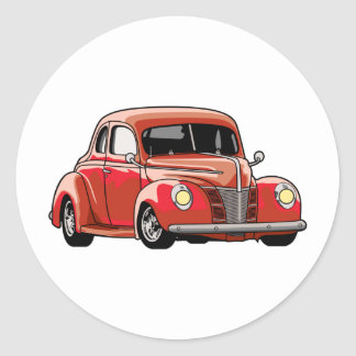 Red Coupe Hot Rod Round Sticker