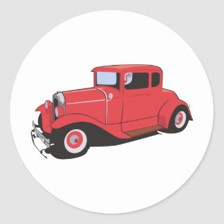 Red Coupe Round Sticker