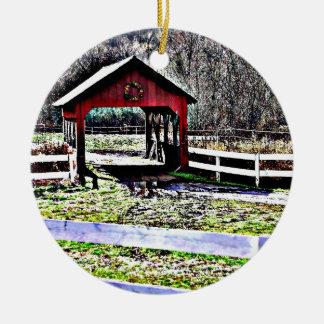 Red Covered Bridge Landscape Christmas Ornament