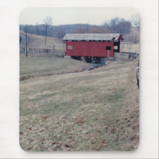 Red Covered Bridge Mouse Pad