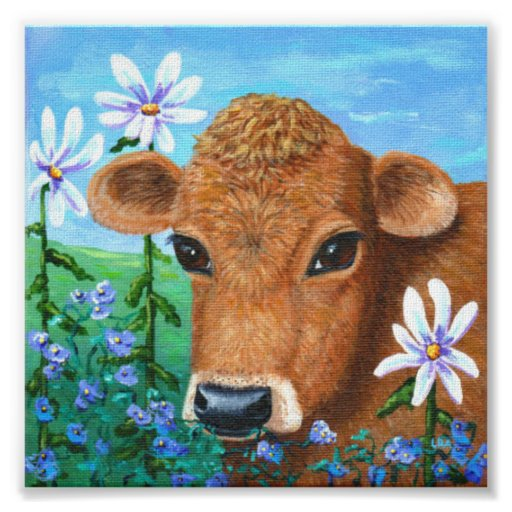 Red Cow Daisies Original Art Creationarts Poster