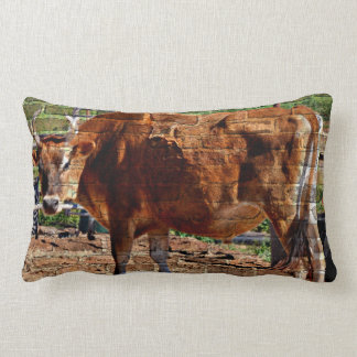 """""""Red Cow In Bricks"""" Cotton Throw Pillow"""