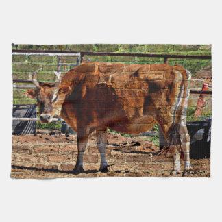 Red Cow in Bricks Kitchen Towel