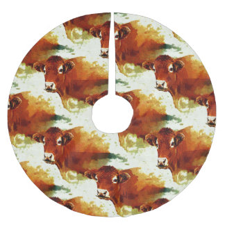 Red Cow Painting Brushed Polyester Tree Skirt