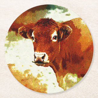 Red Cow Painting Round Paper Coaster