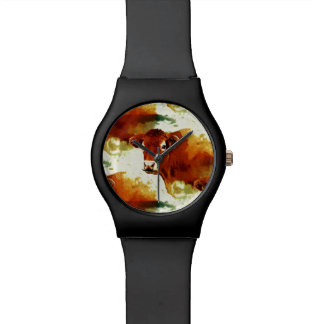 Red Cow Painting Wrist Watches