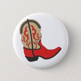 Red Cowboy Boot 6 Cm Round Badge
