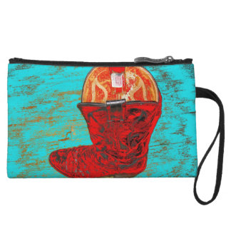Red Cowboy Boot Mini Clutch, Distressed Turquoise Wristlet Purses