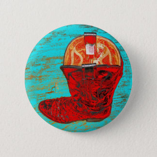 Red Cowboy Boots 6 Cm Round Badge