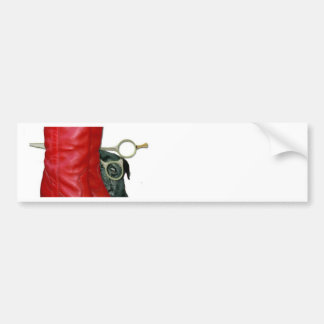 Red Cowboy Boots Red Roses Pug Dog Scissors Bumper Stickers