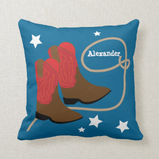 Red Cowboy Boots & Rope, Personalized Cushion