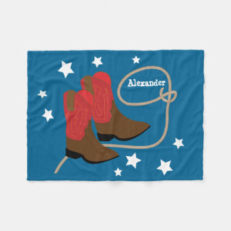 Red Cowboy Boots & Rope, Personalized Fleece Blanket
