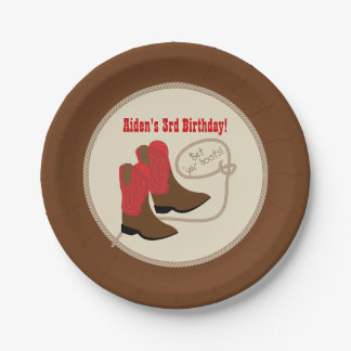 Red Cowboy Boots Western Birthday Party 7 Inch Paper Plate