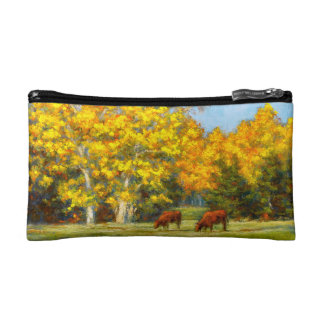 Red Cows under Yellow Fall Cosmetic Bag