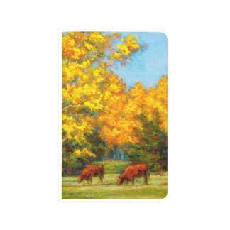 Red Cows under Yellow Fall Trees Pocket Journal