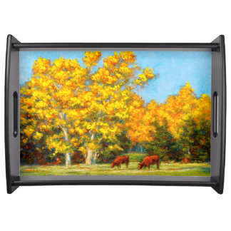 Red Cows under Yellow Fall Trees Serving Tray