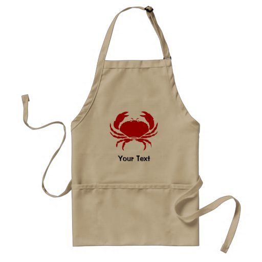 Red crab apron with personalizable text | beige