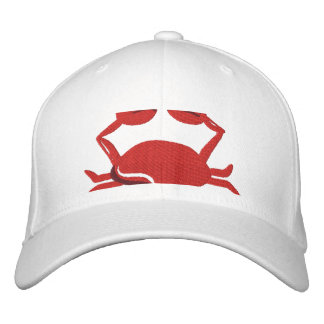 Red Crab  Beach Embroidered Hat