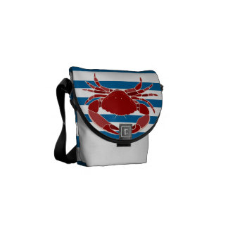 Red Crab Blue and White Horizontal Stripe Bag Courier Bag