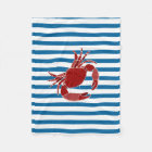 Red Crab Blue and White Stripe Fleece Blanket
