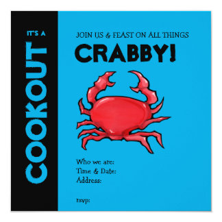 Red Crab blue Cookout Invitation