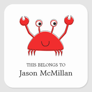 Red Crab Bookplates |  I.D. Labels