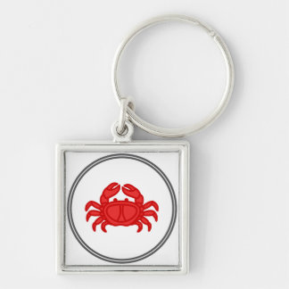 Red Crab - Fish Prawn Crab Collection Silver-Colored Square Key Ring