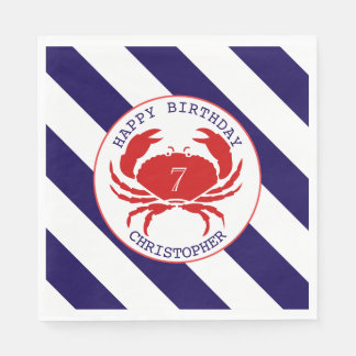 Red Crab Nautical Birthday Party Disposable Napkin