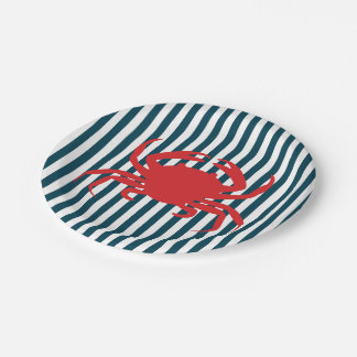 Red Crab on Nautical Stripes Paper Plate