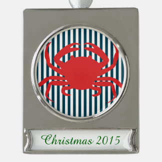 Red Crab on Nautical Stripes Silver Plated Banner Ornament