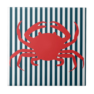 Red Crab on Nautical Stripes Tile