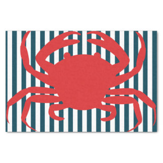 Red Crab on Nautical Stripes Tissue Paper