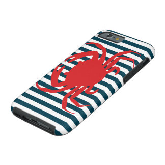 Red Crab on Nautical Stripes Tough iPhone 6 Case