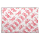 Red Crab Pattern Woodblock Print Artisan Style Placemat