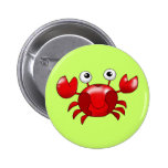 Red crab pinback buttons