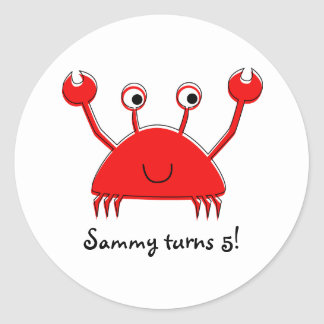 Red Crab Stickers | Cupcake Toppers Round Sticker