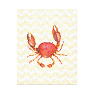 Red crab watercolor painting over yellow chevron canvas prints