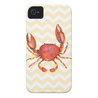 Red crab watercolor painting over yellow chevron iPhone 4 Case-Mate cases