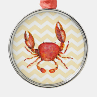 Red crab watercolor painting over yellow chevron Silver-Colored round decoration