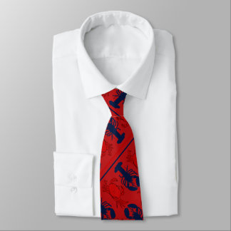 Red Crabs n Lobsters Diagonal Print Tie
