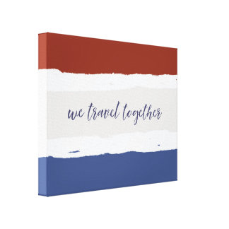Red Cream Blue We Travel Together Canvas Print