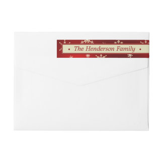 Red & Cream Christmas Snowflakes Custom Wrap Around Label
