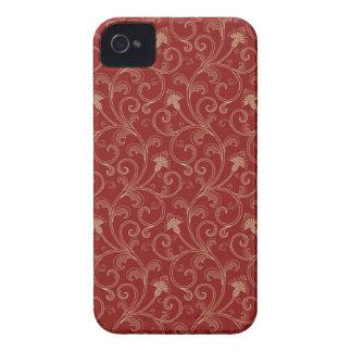 Red cream floral swirls elegant blackberry bold iPhone 4 cover