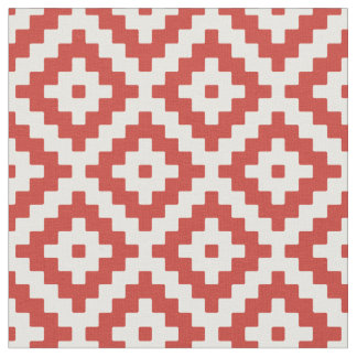Red & Cream Mayan Stepped Pattern Fabric