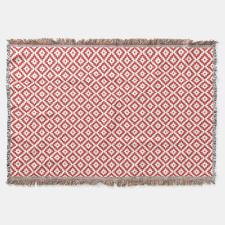 Red & Cream Mayan Stepped Pattern Throw